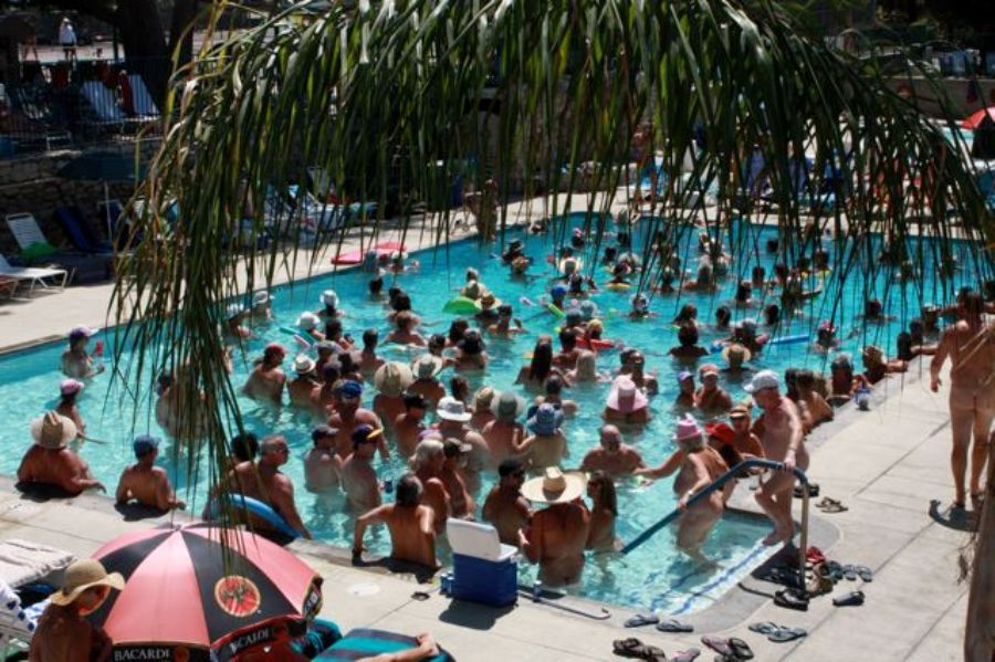 nudist pool party